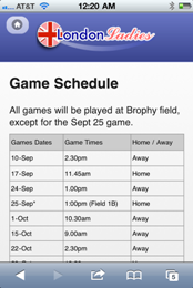 London Ladies - Game Schedule